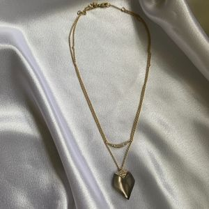 Alexis Bittar Pendant Layered Chain Heart Necklace